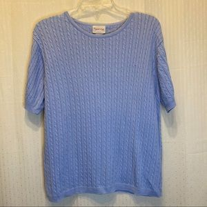 Crystal-Kobe cable knit short sleeve sweater